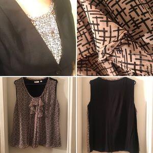 Ny&Co Pink and Black Sleeveless Blouse